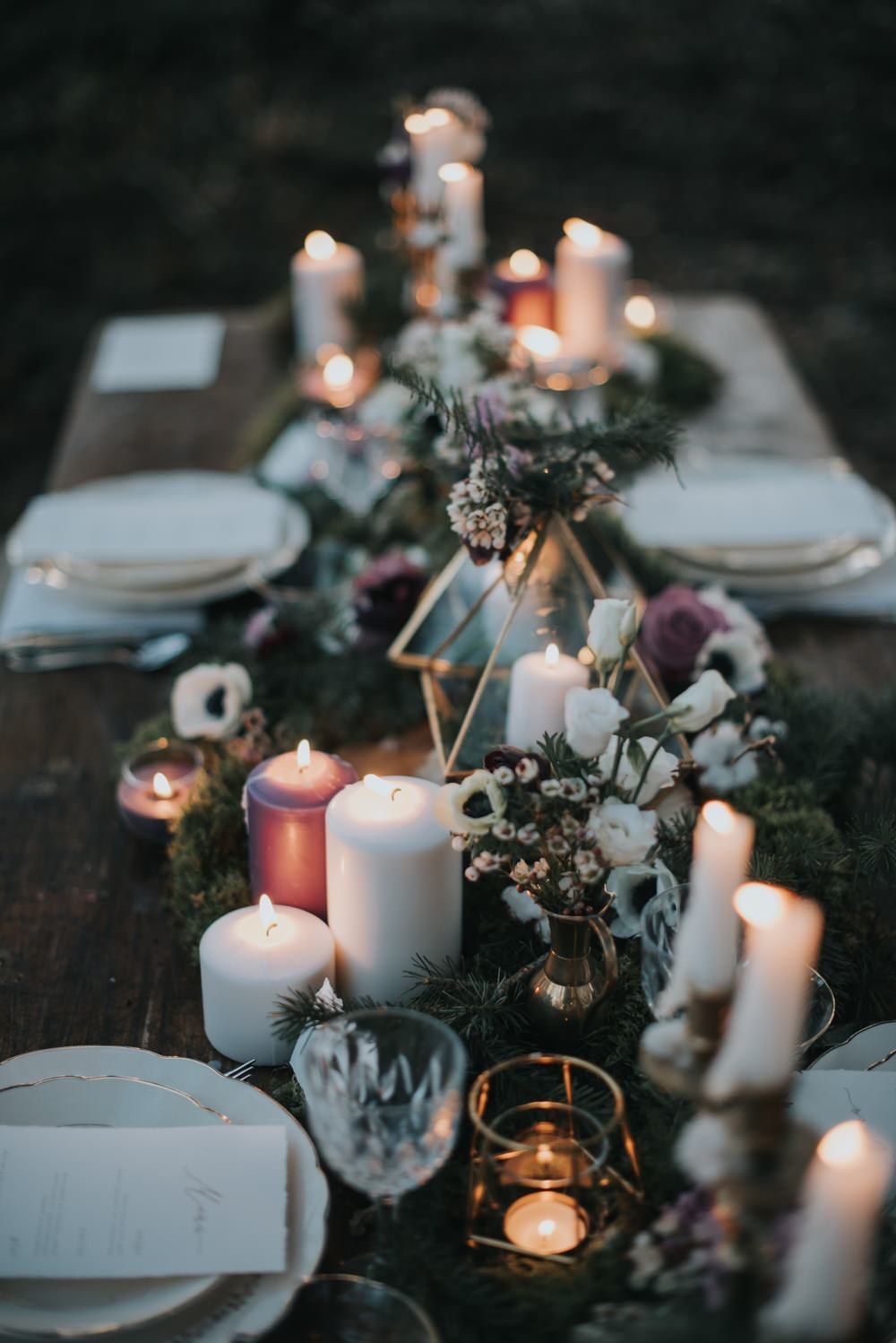 whimsical forest ultra violet wedding centerpieces with candle lights