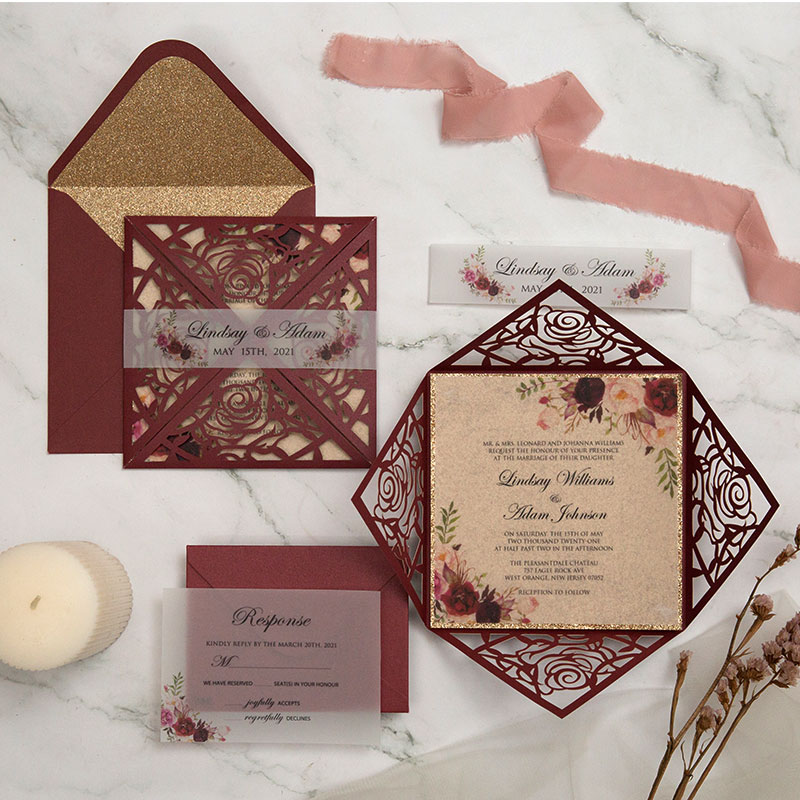 Fall rustic burgundy laser cut wrap with floral wedding invitations