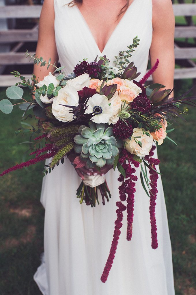 fall and winter wedding bouquets with draping amaranthus
