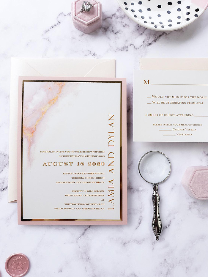 blush marble inspired layered modern wedding invitation