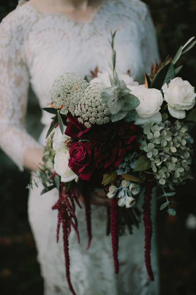 boho burgundy and green bridal bouquet fall and winter bouquet