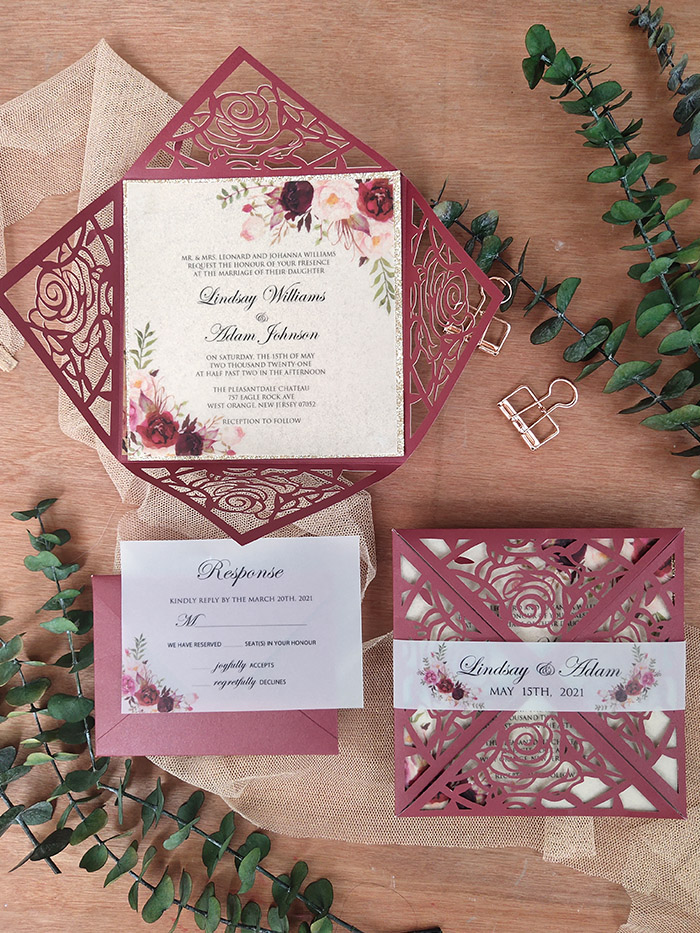 burgundy and blush flowers laser cut wedding invitation