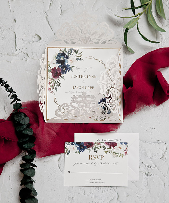burgundy and dusty blue elegant laser cut wedding invites