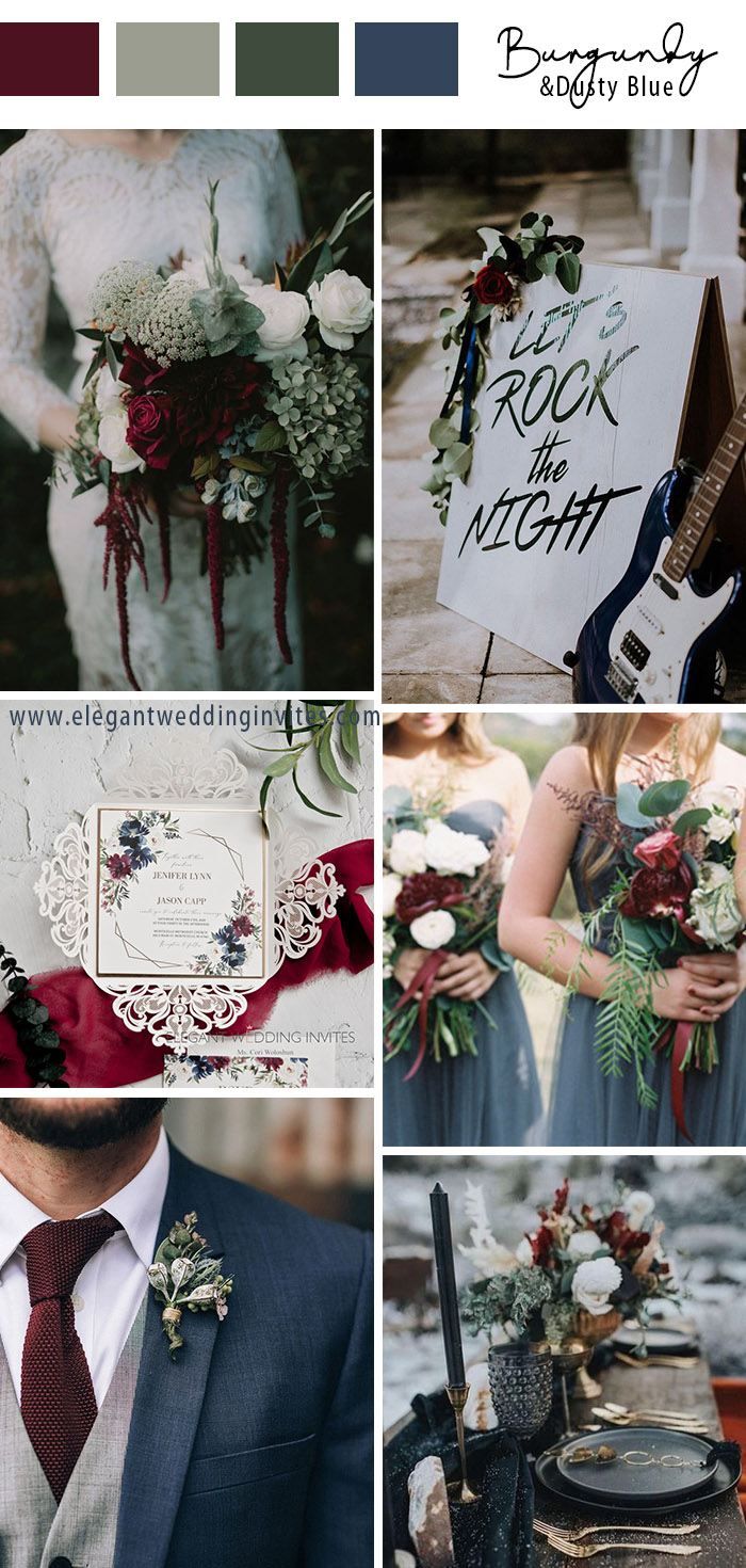 burgundy sage and blue autumn and winter wedding theme