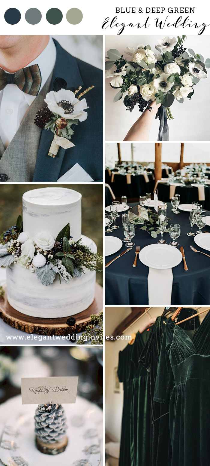 classic and elegant blue and forest green wedding colors