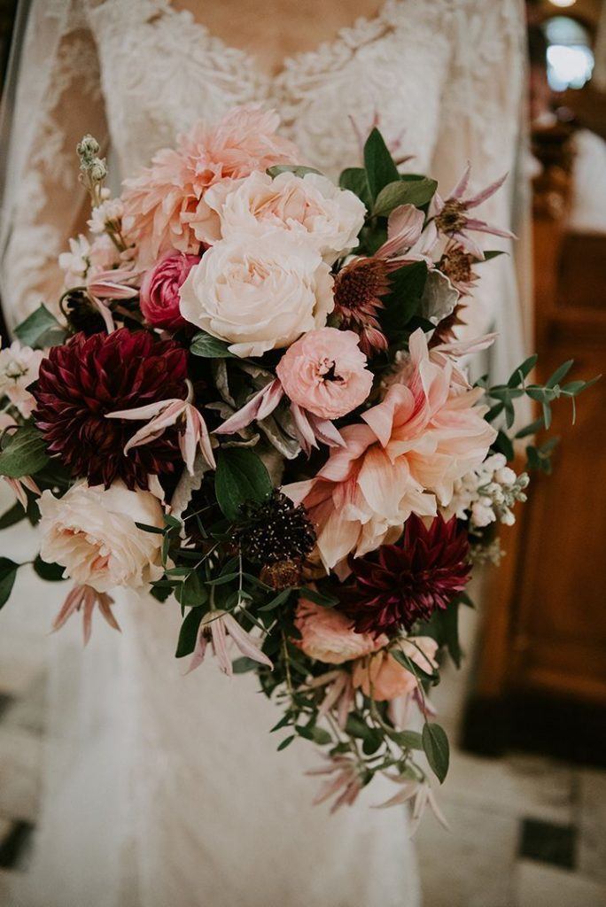 classic and pink and burgundy september wedding bouques