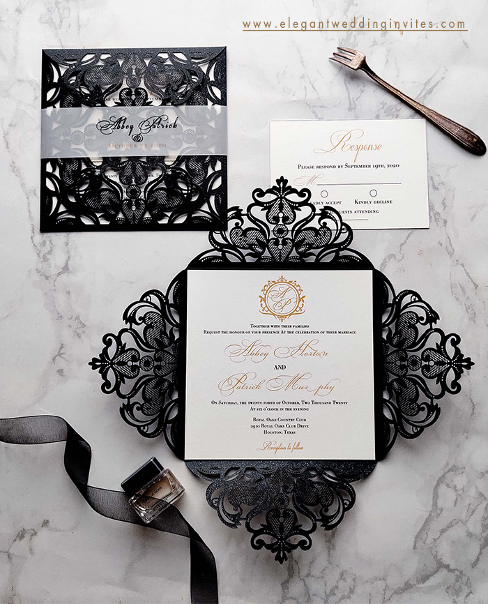 classic black and white monogram wedding invitation