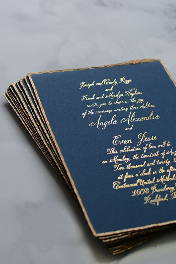 classic blue and foil gold wedding card with edge foil printing