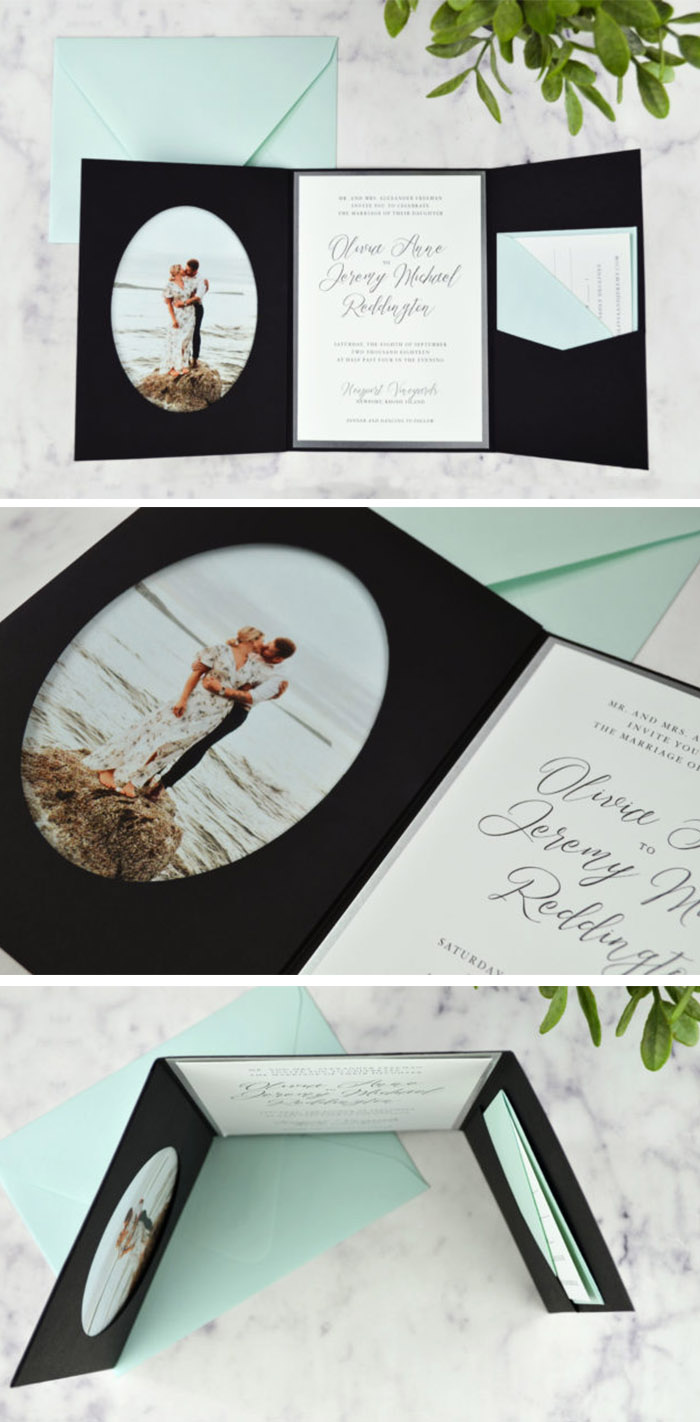 classic pocket wedding invitation with photo of the couple