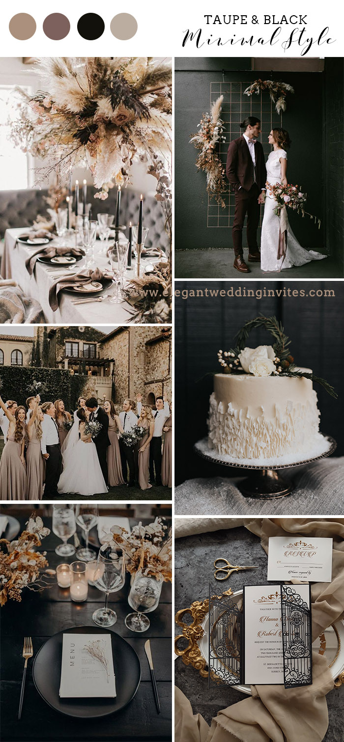 contemporary minimalist wedding theme in taupe and black color