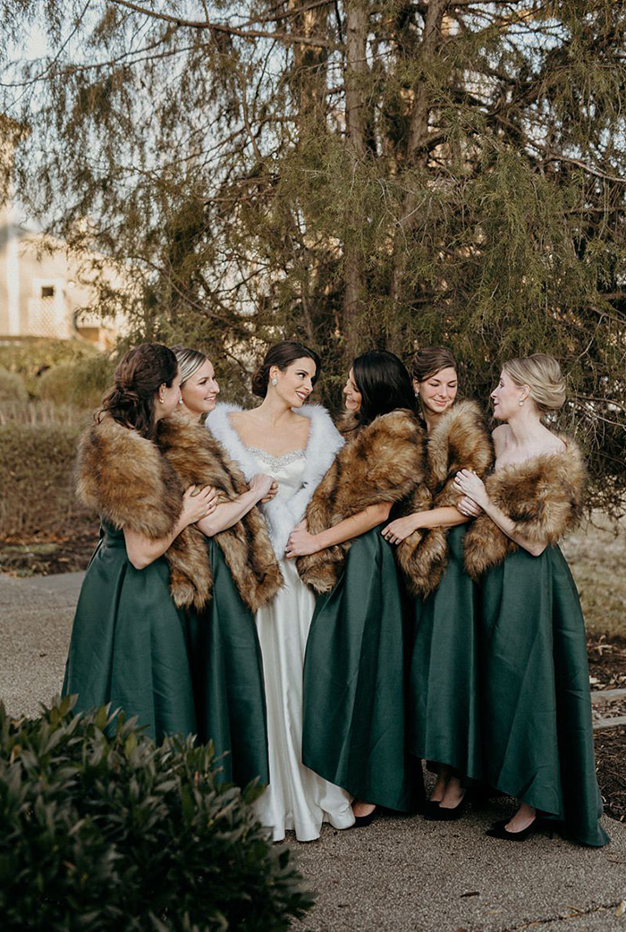 cozy emerald green winter bridesmaid dresses with fur coats
