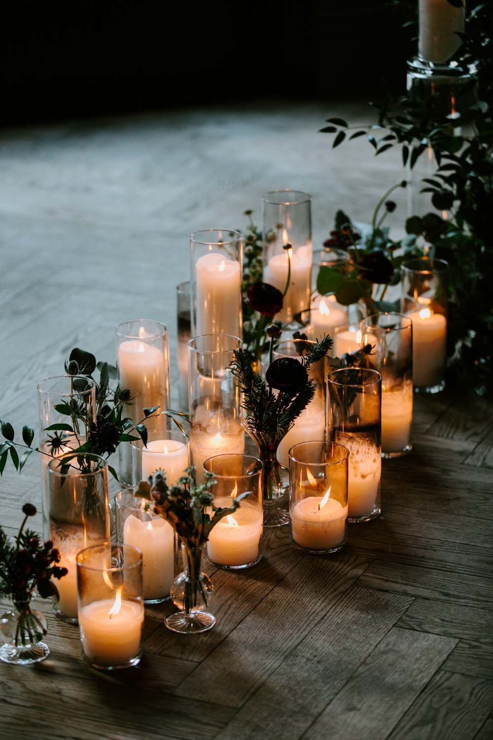 cozy romantic winter wedding candle lights decoration