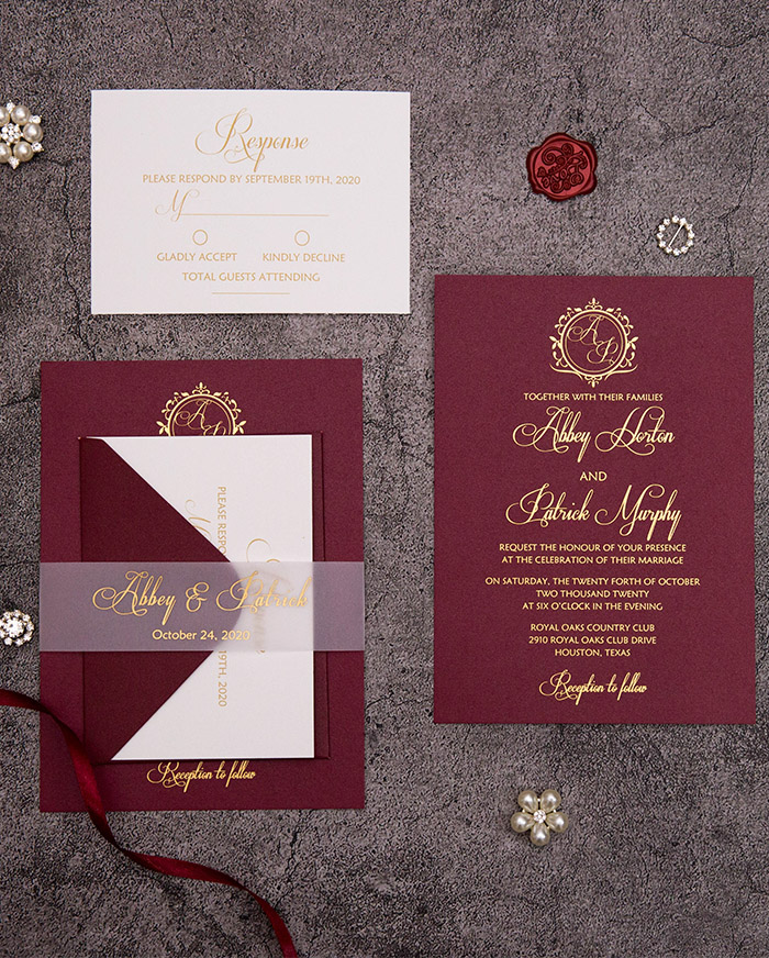 dark red and gold foil wedding invitation cards