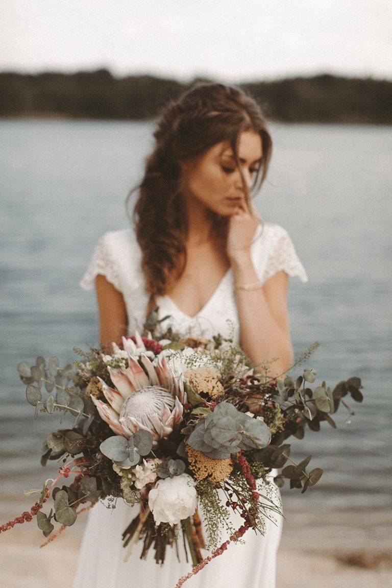 earthy tone fall and winter elopement bridal bouquets with proteas