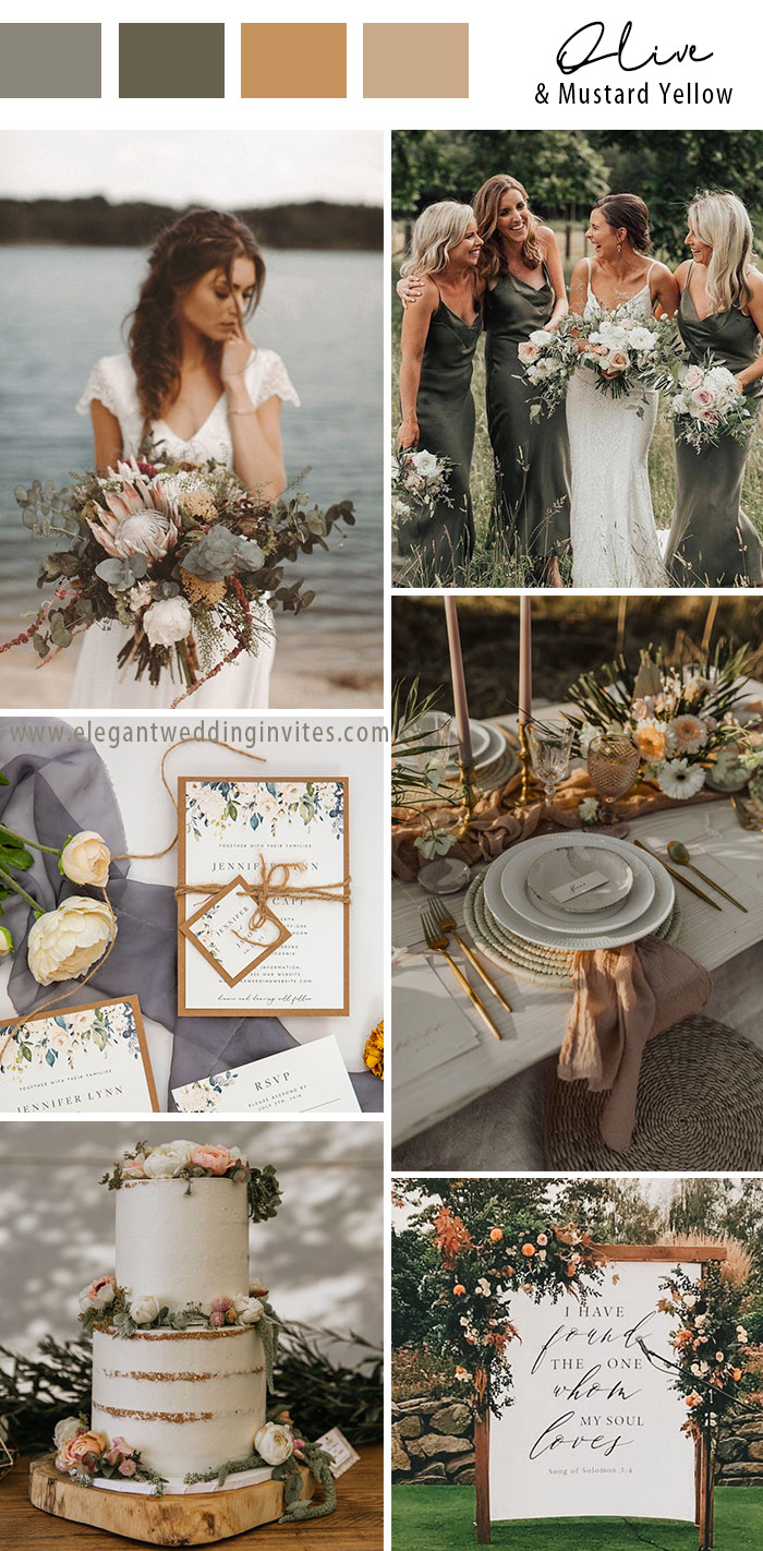 elegant and mustard yellow rustic chic small wedding colors