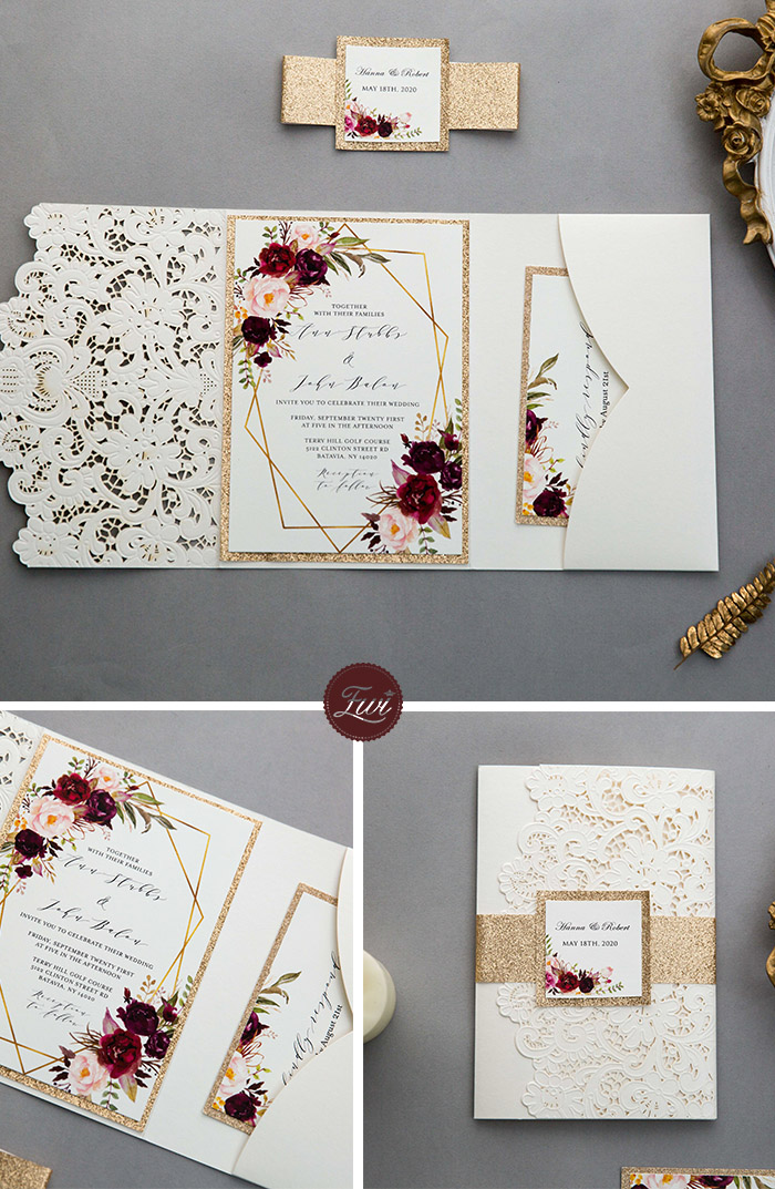 elegant ivory pocket and burgundy floral pocket wedding invites