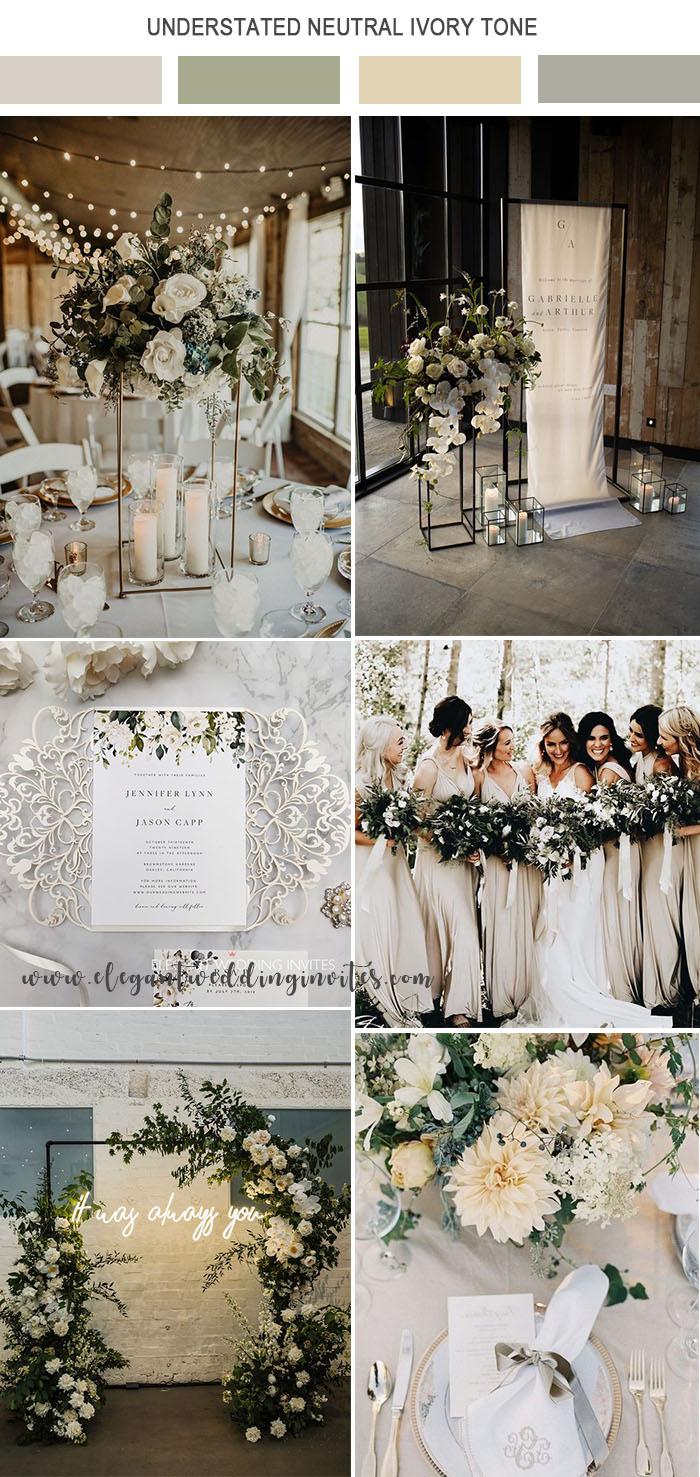 elegant modern understated neutral ivory tone wedding color theme