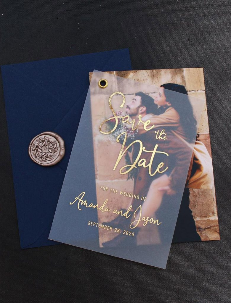 foil vellum overlay photo save the dates