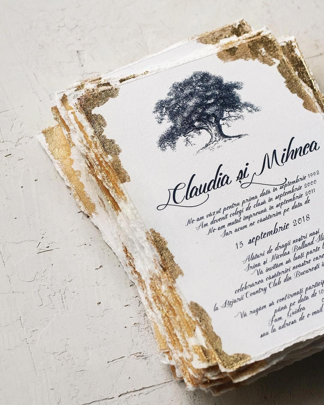 gold foil flake modern wedding stationery