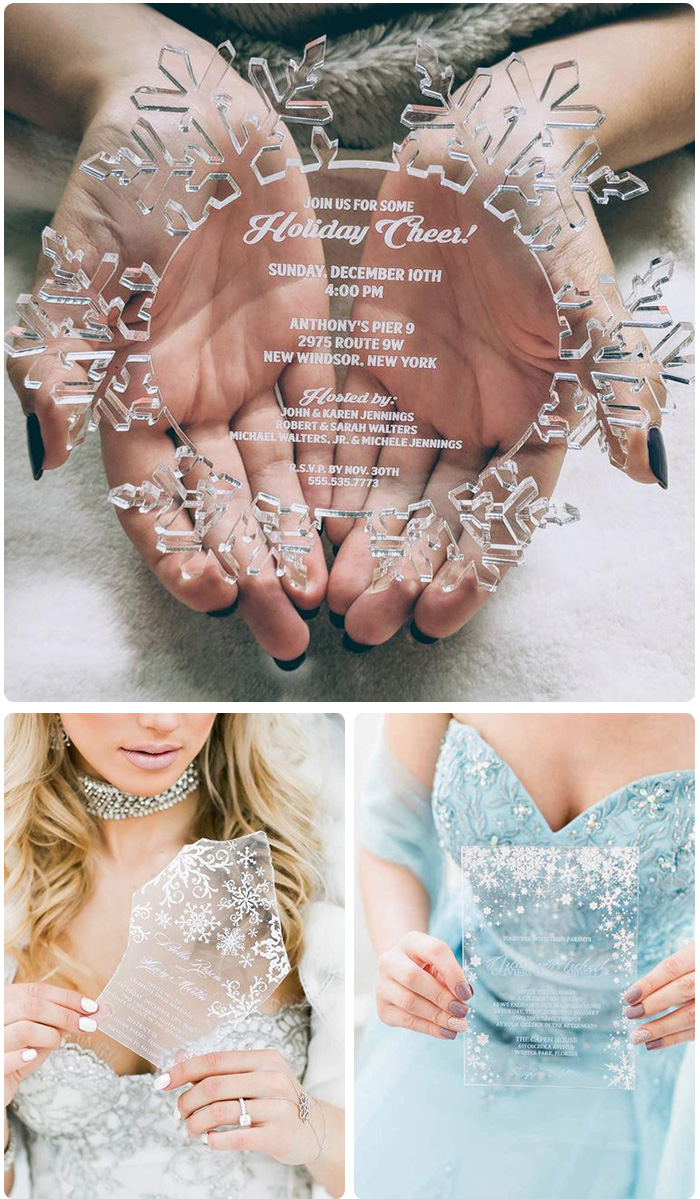 gorgeous clear acrylic snowflake wedding cards for winter wonderland wedding