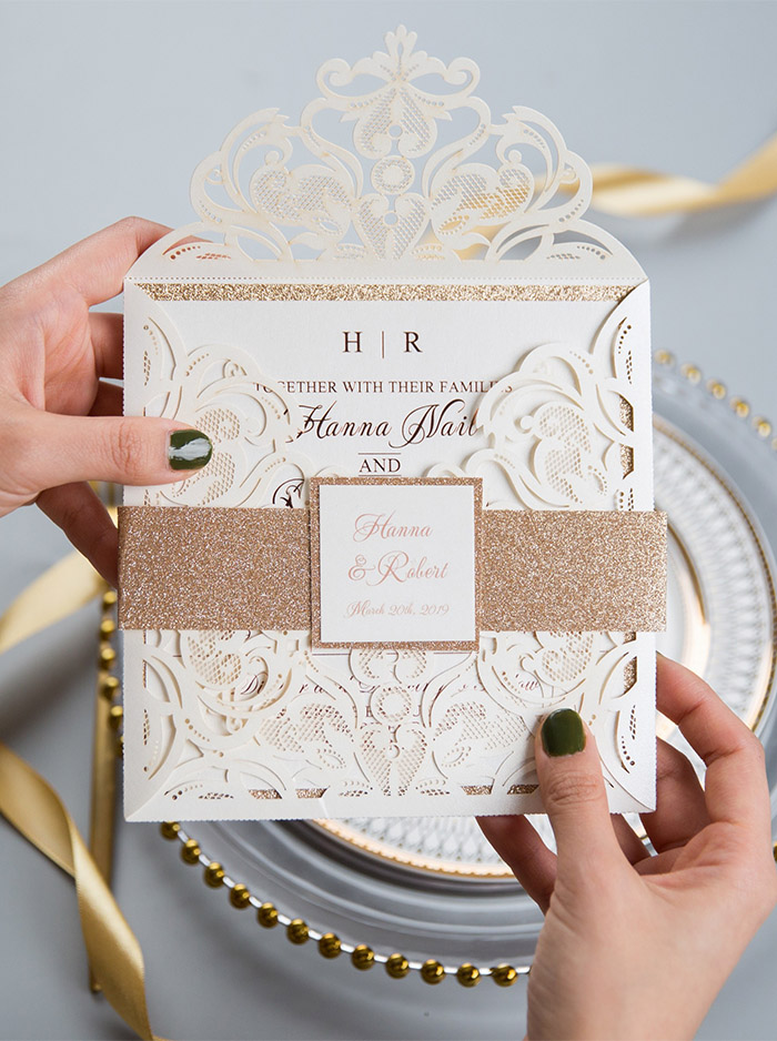graceful ivory and rose gold online wedding invitation with belly band