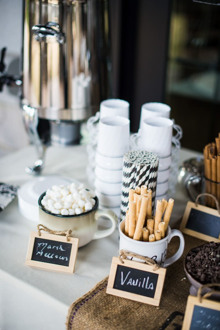 hot chocolate and S'Mores food bar for winter wedding