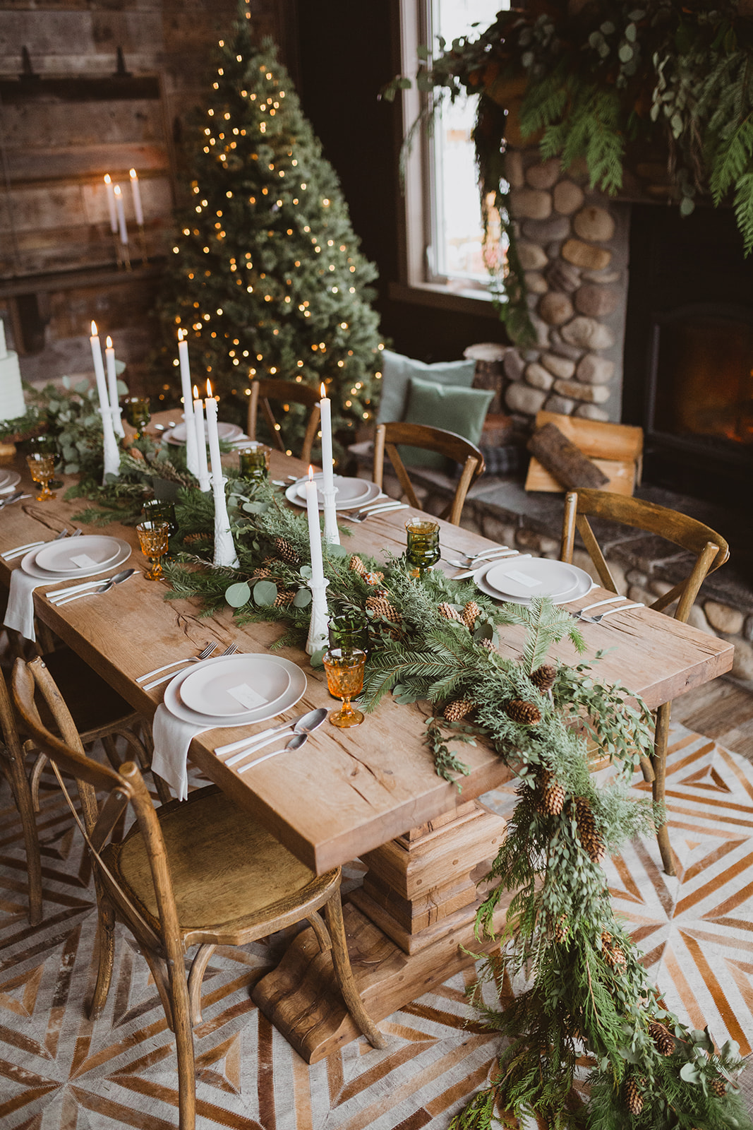 intimate indoor greenery garland winter wedding centerpieces
