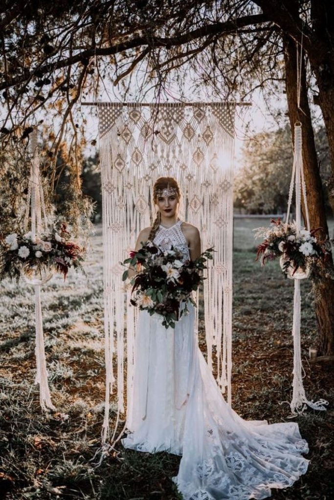 lace macrame boho theme wedding backdrop