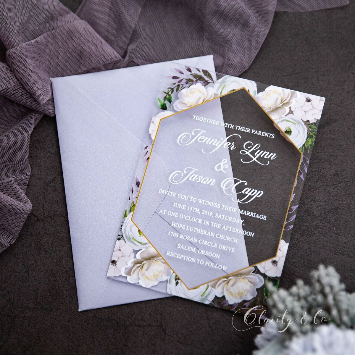 lavender and gold floral acrylic wedding invitations ca028