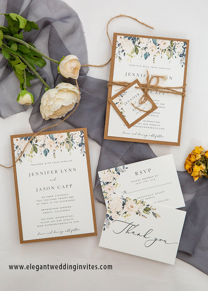 layer elegant sage green rustic wedding invitation cards