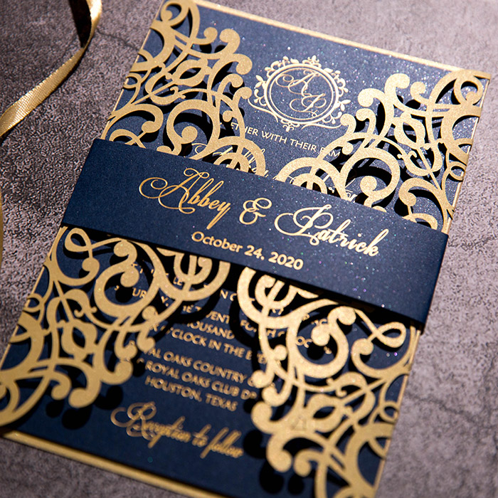 midnight blue laser cut foil printing wedding invites