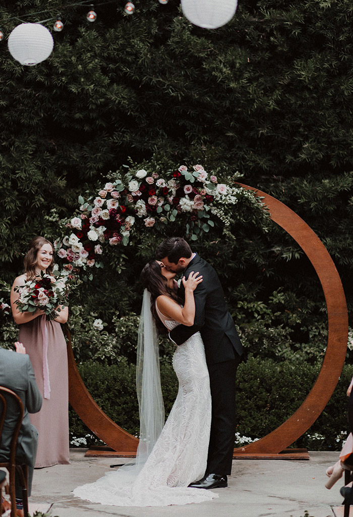 modern boho theme flower circle wedding arches