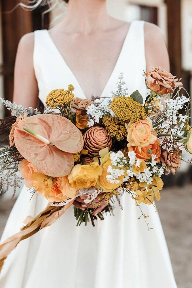 modern yellow and orange elopement bridal bouquets