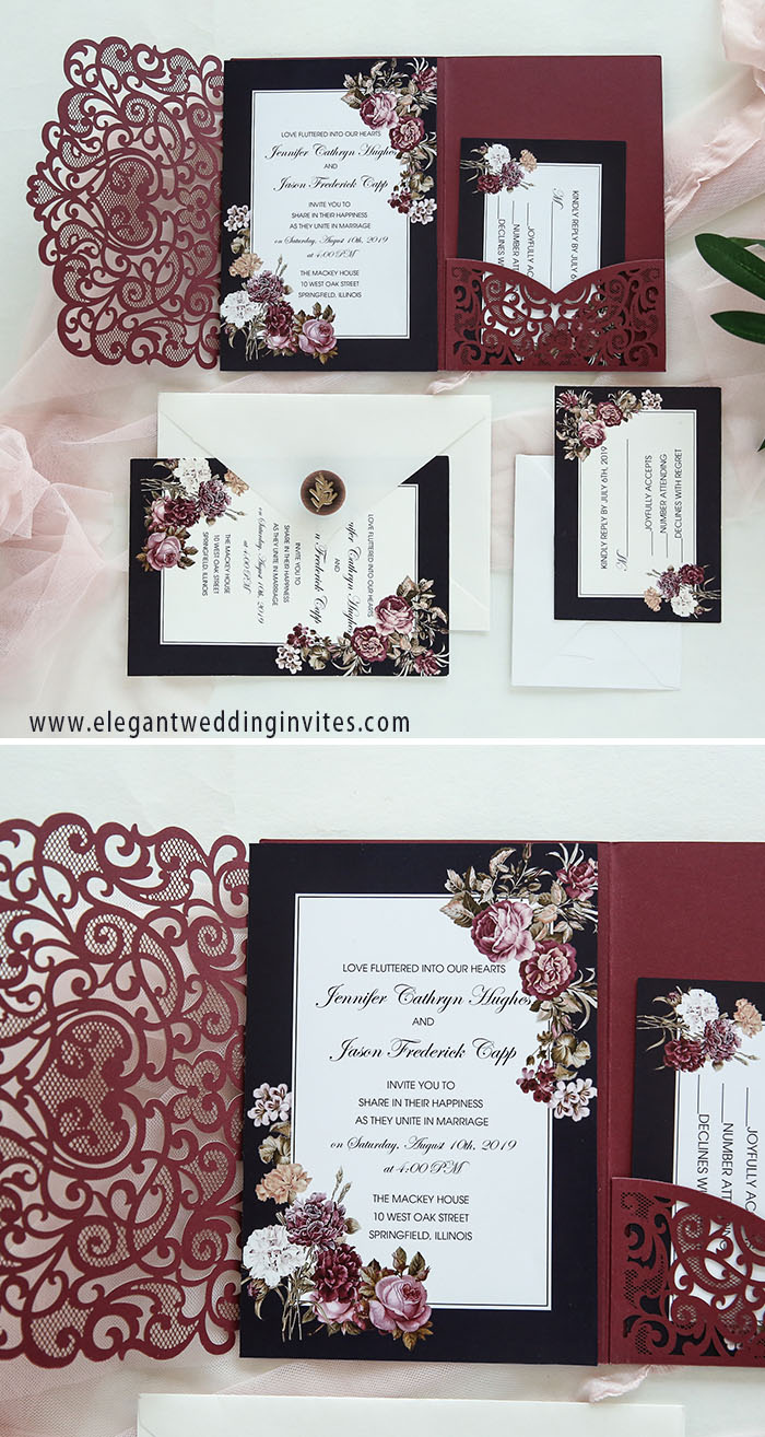 moody burgundycinnamon rose laser cut wedding invitations