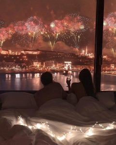most romantic honeymoon photos with firelight view at hotel