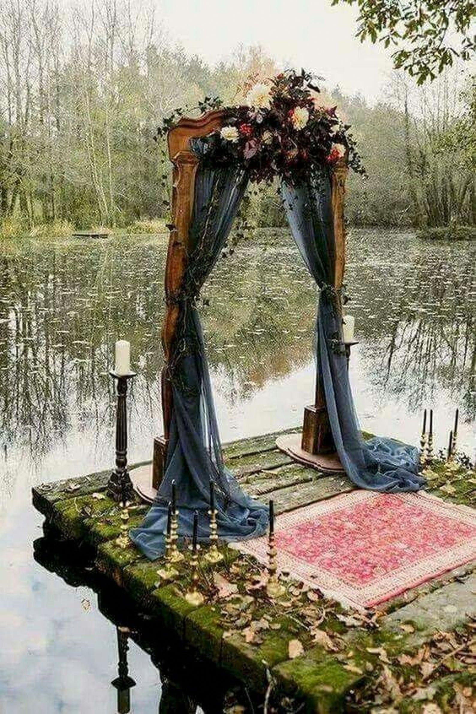 navy blue fabric drapery wedding chuppah ideas