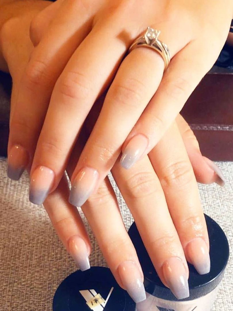 unique grey ombre middle acrylic wedding nails design for bridal