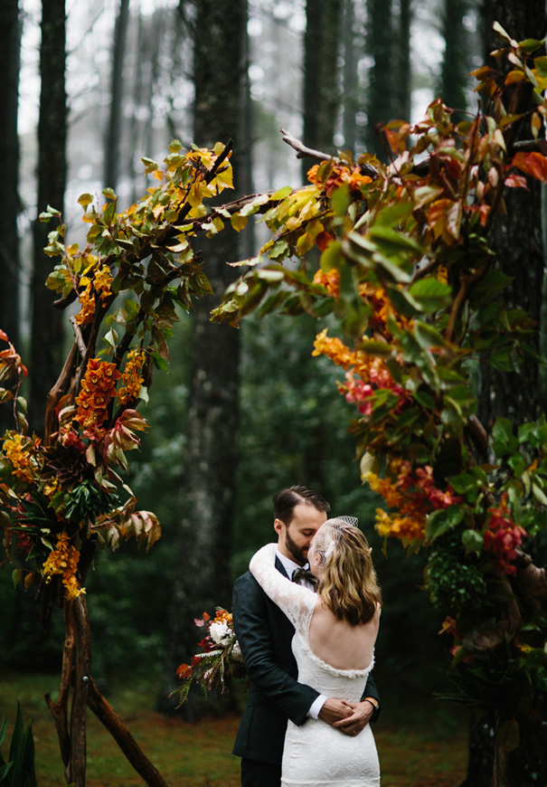 organic autumn branch wedding ceremony backdrops