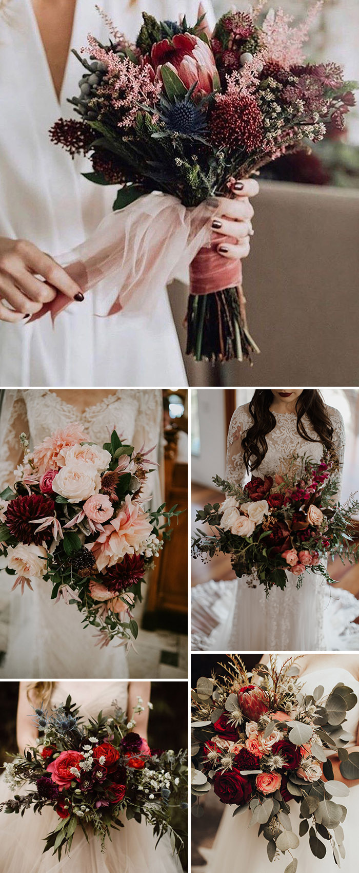 red shades fall and winter wedding bouquet ideas