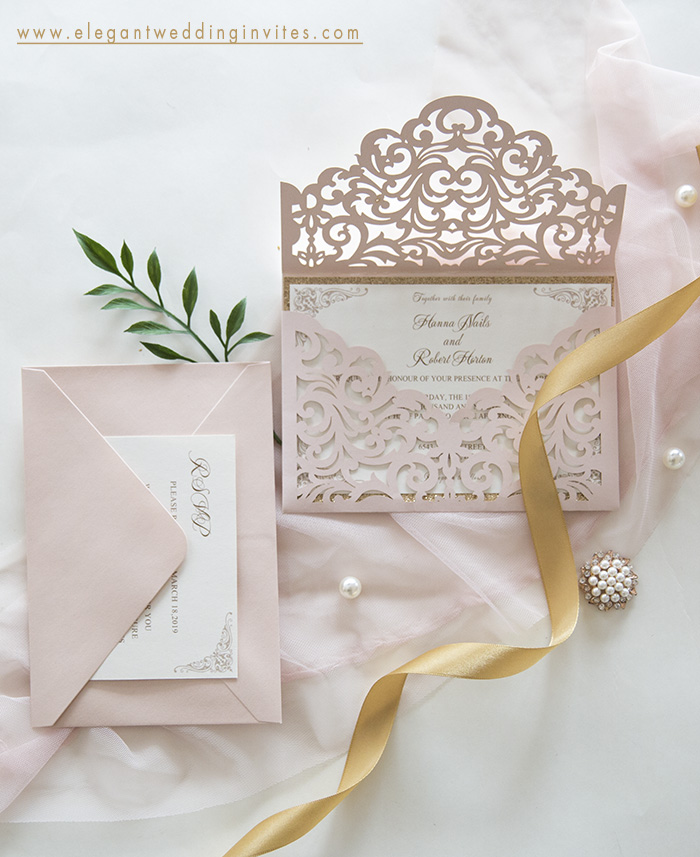 romantic blush pink sleeve envelope wedding invites
