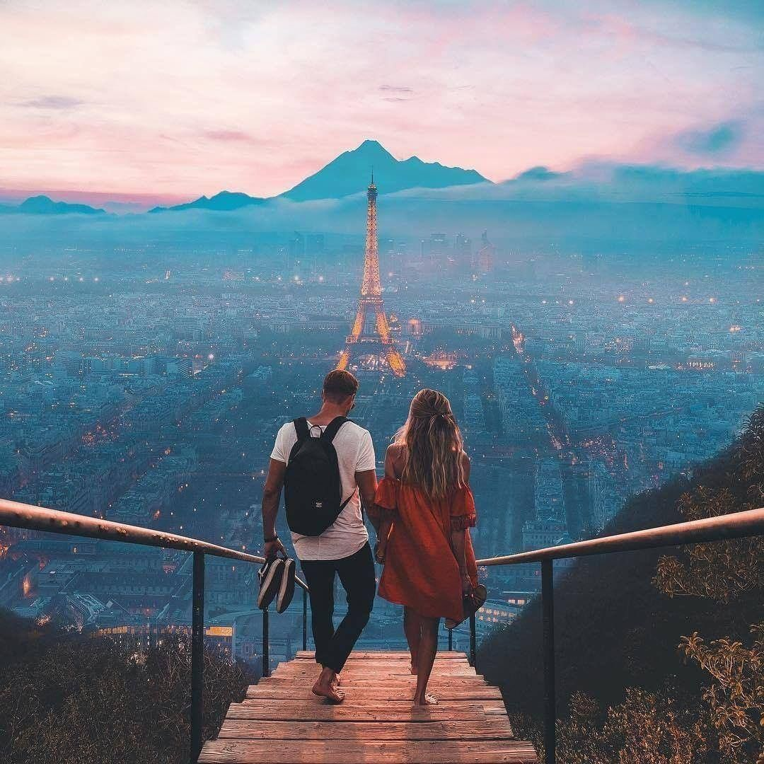 romantic couple honeymoon photos that walking together at the montain near paris