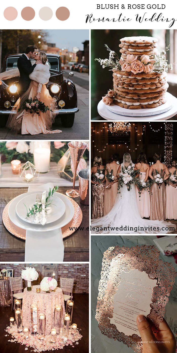 romantic warm winter blush and gold wedding colors