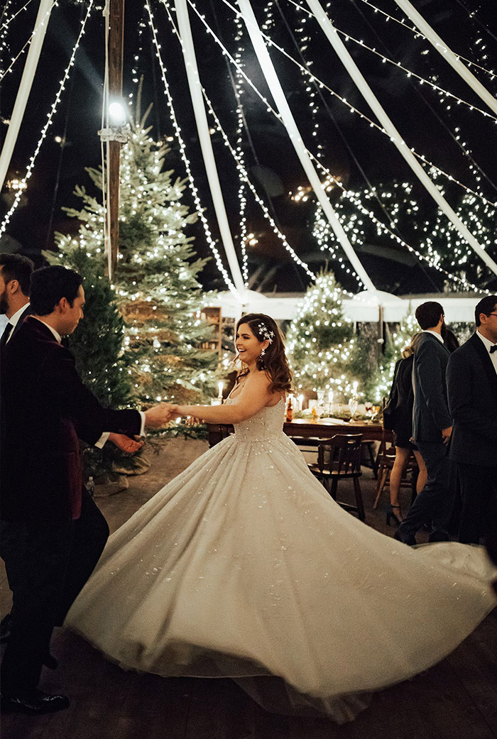 romantic wedding dance under romantic stringlights