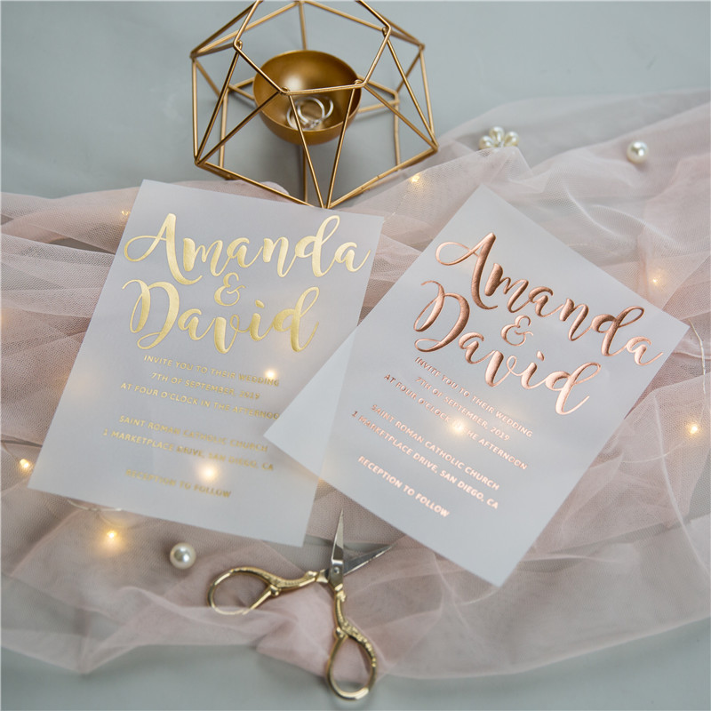 rose gold vs yellow gold vellum wedding cards