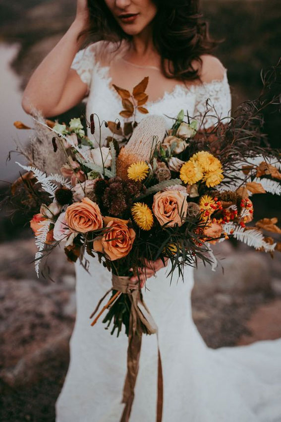 rust and burnt orange flower fall bridal bouquets
