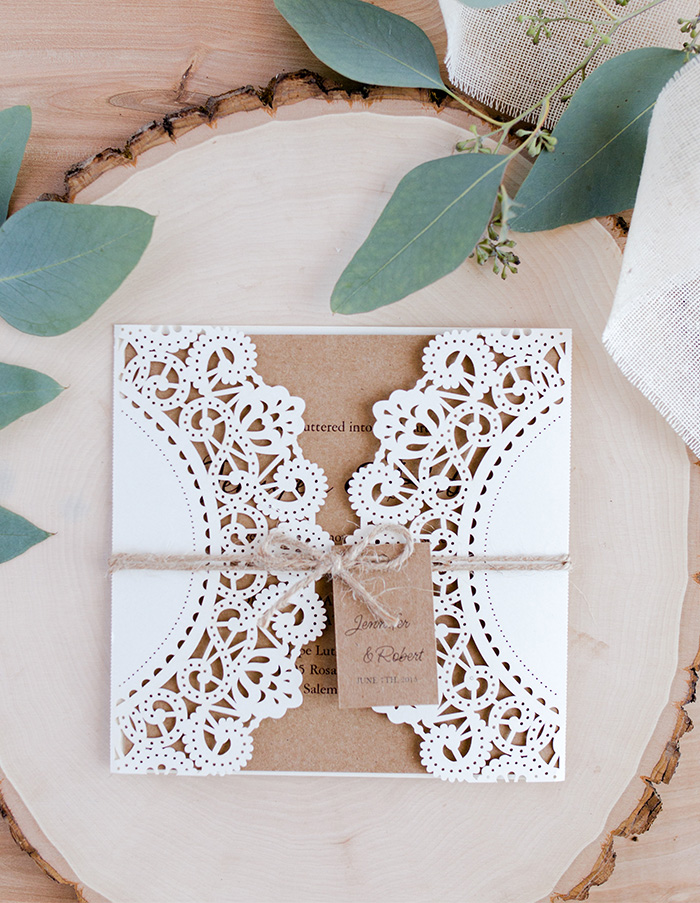 rustic chic elegant laser cut wedding invites