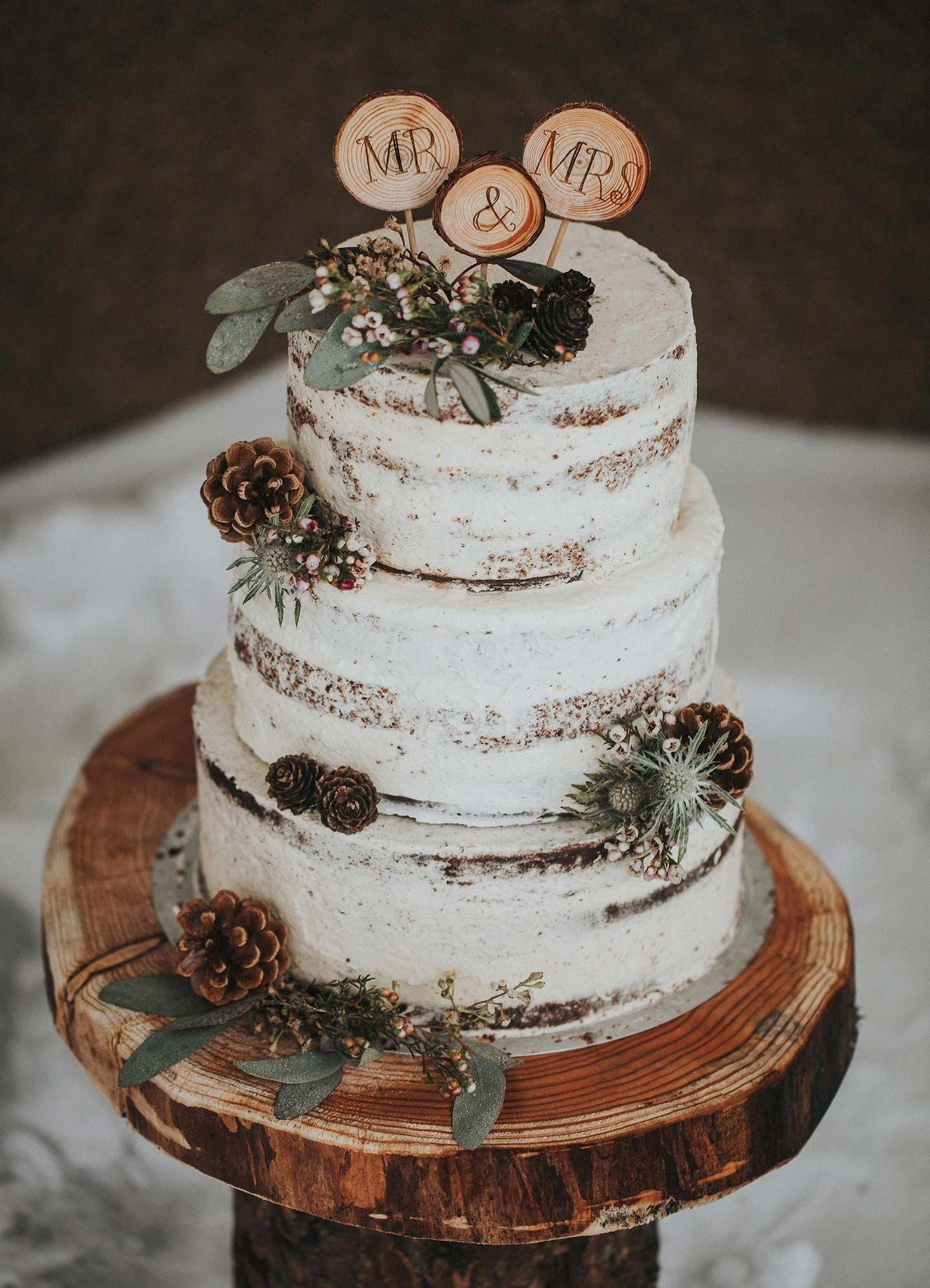 rustic naked winter wedding cake with pinecones