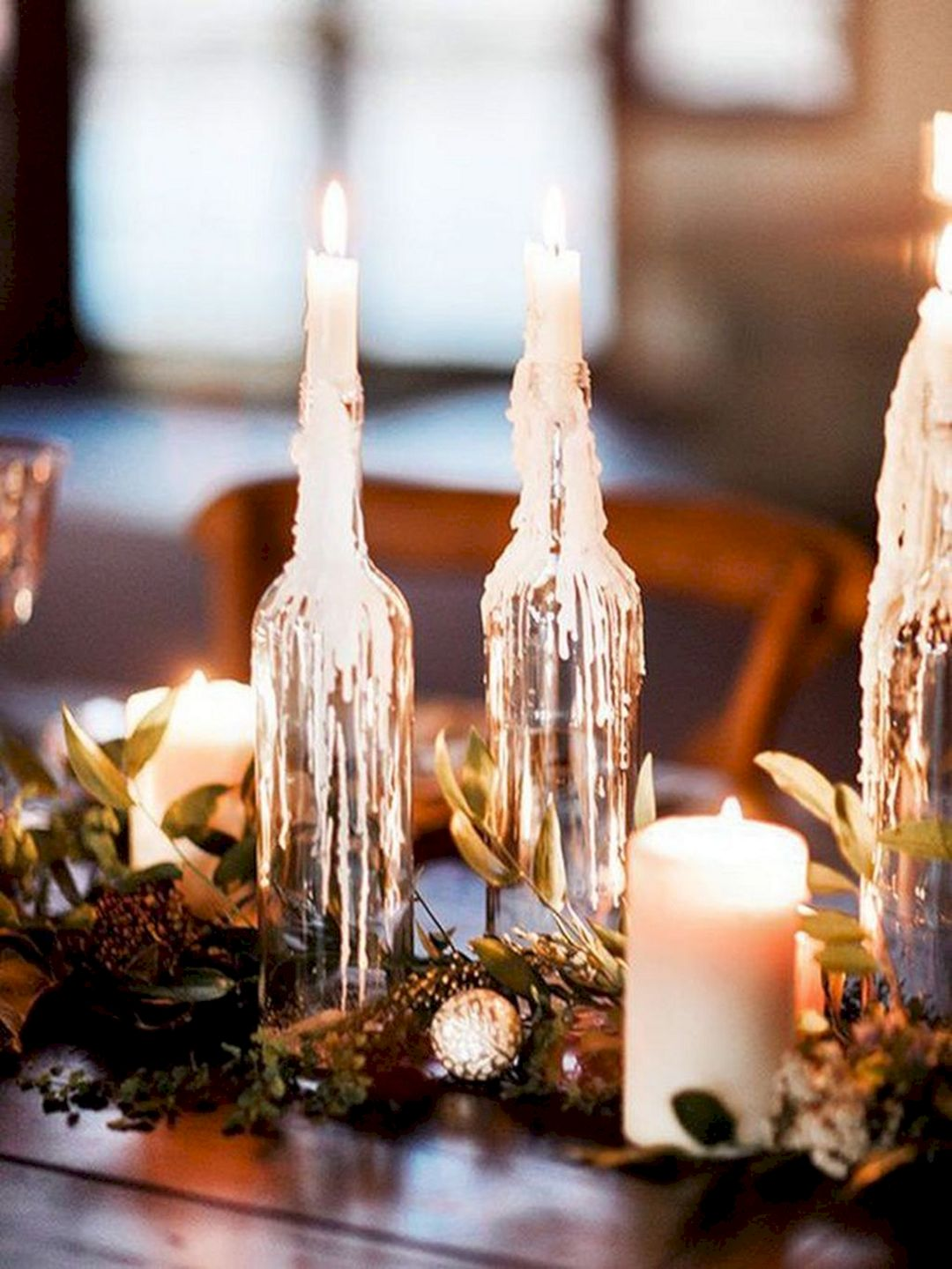 simple diy winter wedding lights with glass bottles