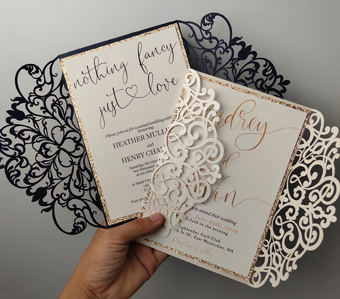 simple graceful calligraphy wedding invitation