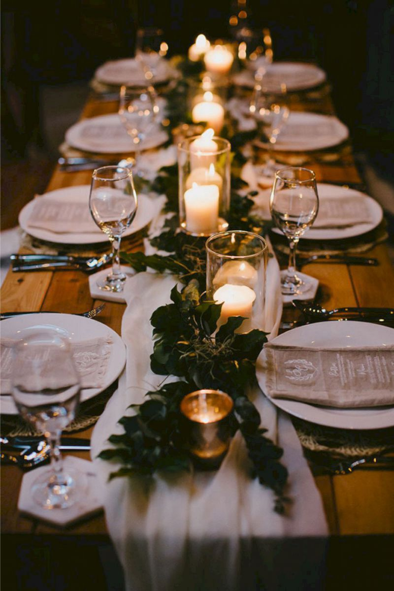 simple greenery wedding tablescape with candle lights